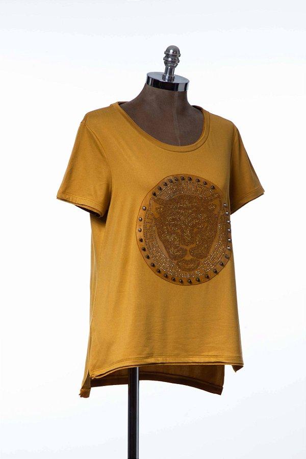 Tshirt Açafrão Patch Suede