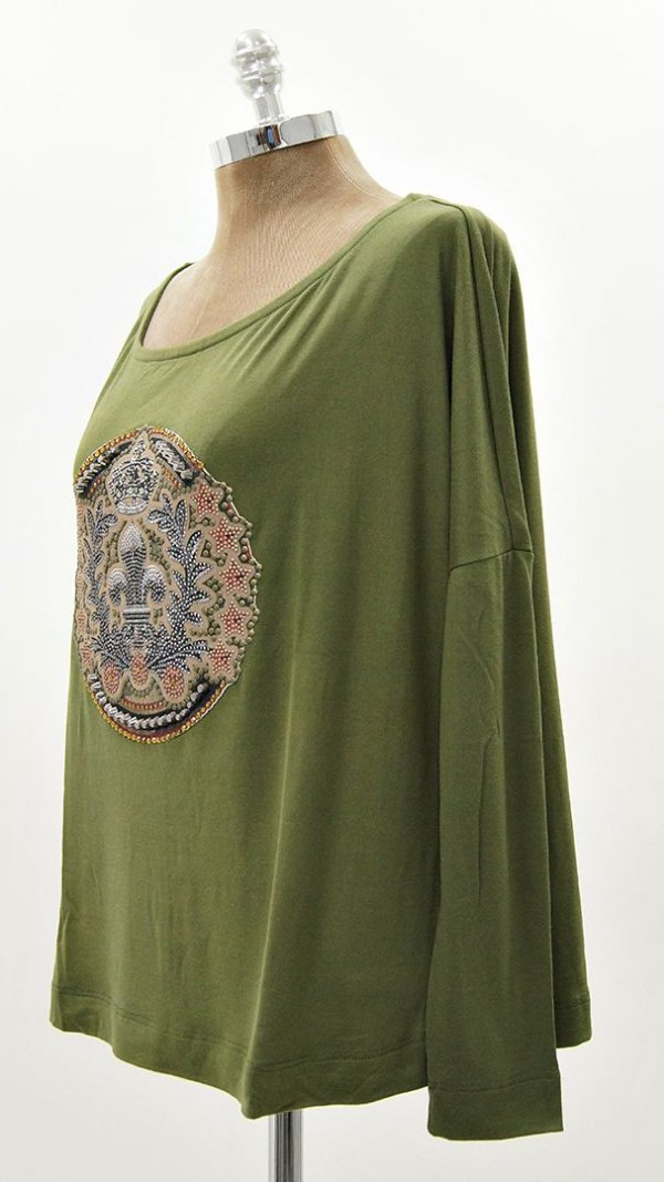 Blusa Ampla Suedinho Verde Brasão