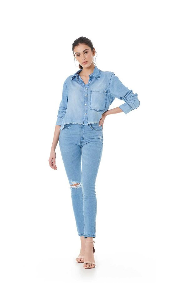 Camisa Cropped Chambree