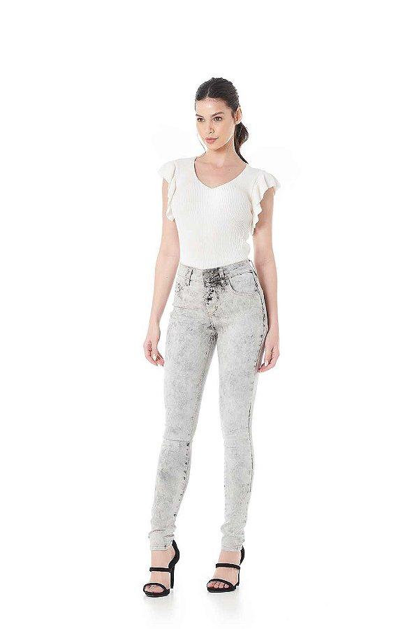 Calça Jeans Cinza Marmorizada