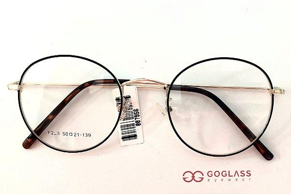 GOGLASS  7956 redondo metal com lentes policarbonato antireflexo alto índice.
