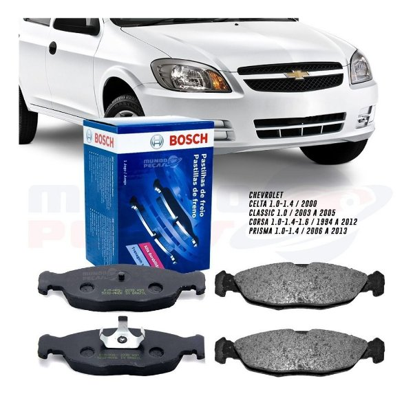 Jogo Pastilha De Freio Bosch Chevrolet Corsa Celta Prisma