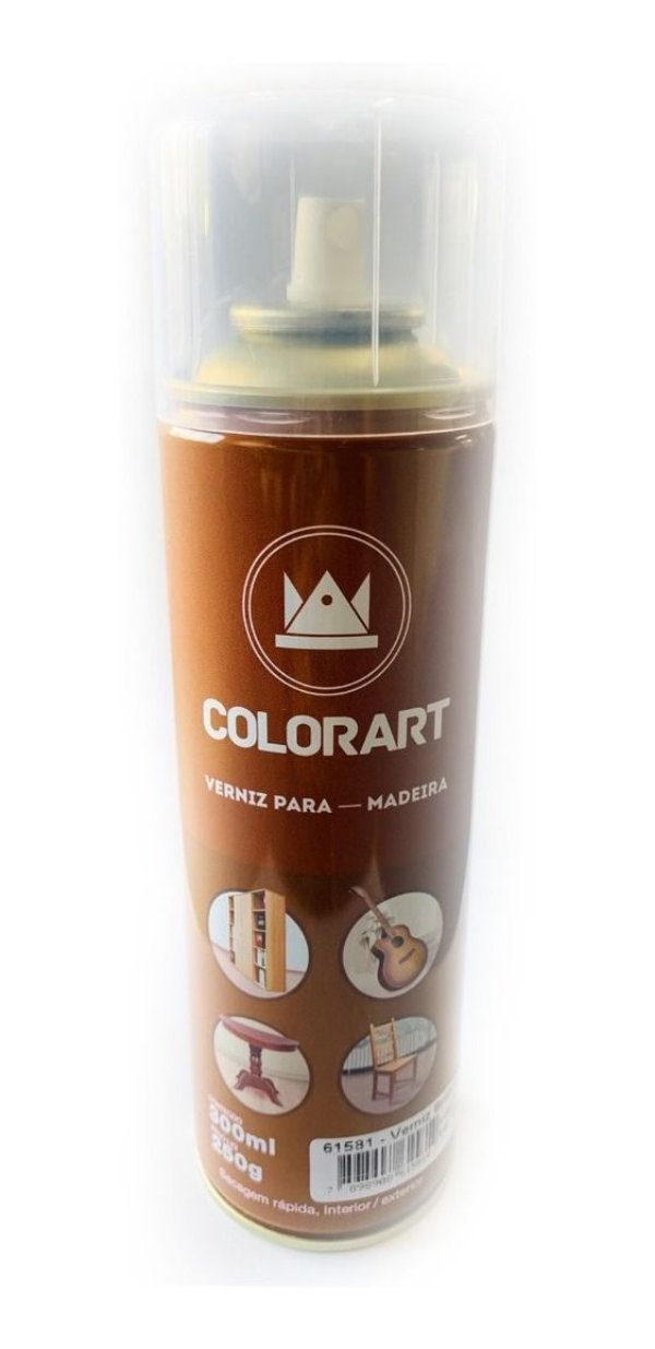 Spray Verniz Brilhante Para Madeira Colorart 300ml