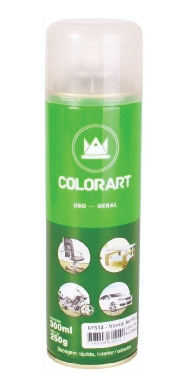 Spray Verniz Acrílico Brilhante Colorart Uso Geral 300ml
