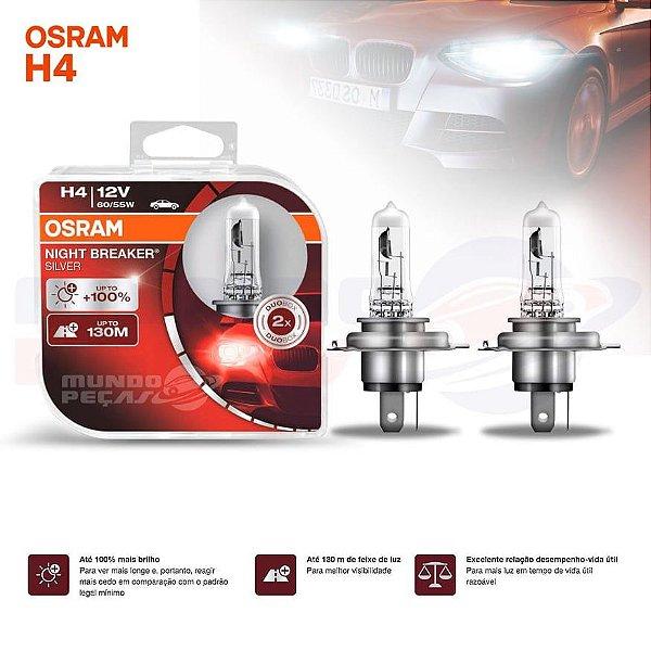 Lampada Osram Night Breaker Silver H4 Par 100% + Luz