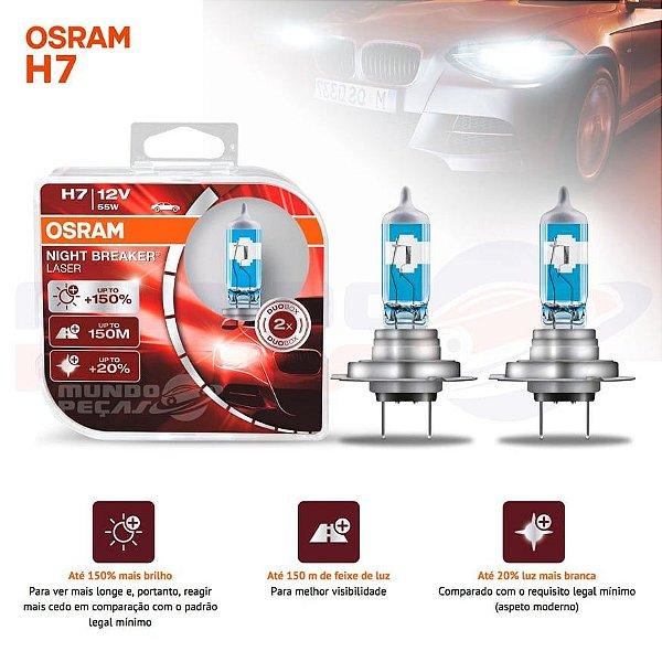 Lampada Osram Night Breaker Laser H7 Par 150% + Luz