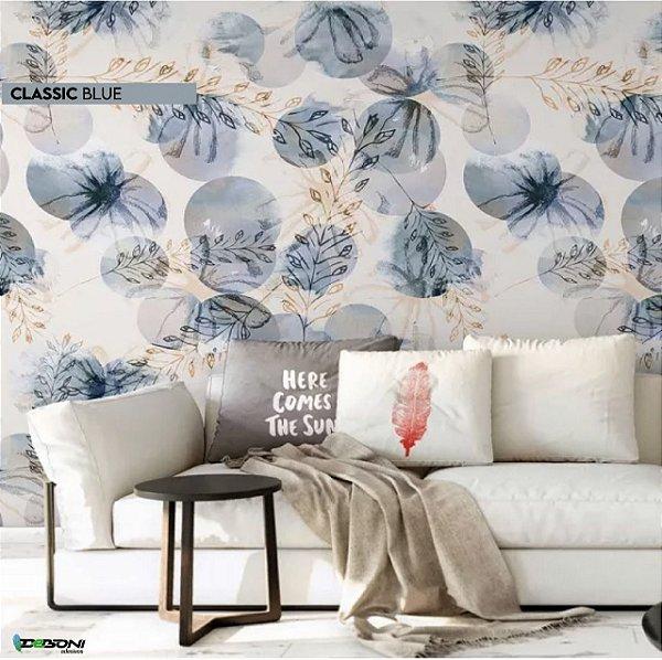 Papel de Parede Adesivo Floral Classic Blue
