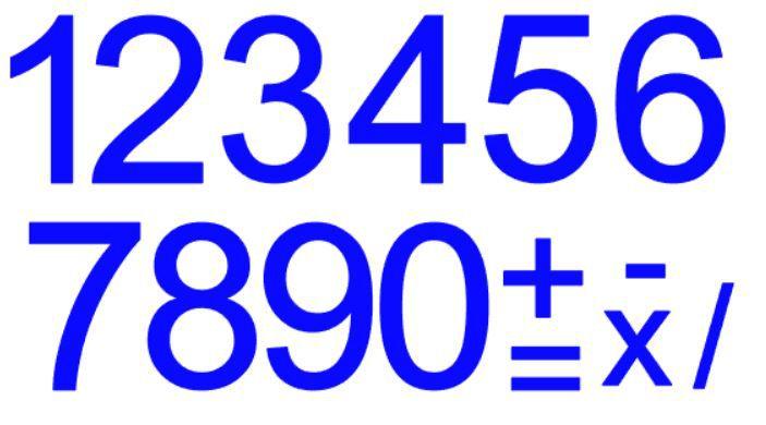 Cartela de Números c/ recorte - AZUL