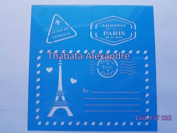 Estêncil Cartão Postal Paris 14 X 14