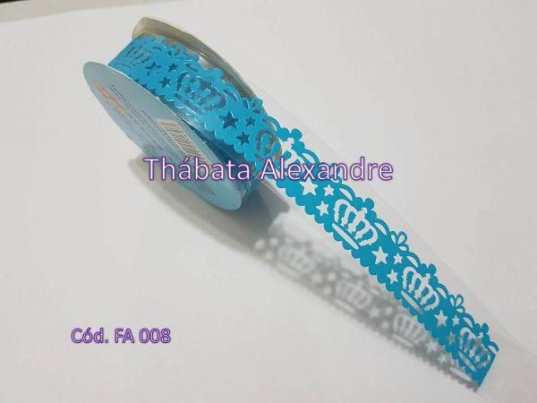 Fita Adesiva Babado com Coroa - Azul