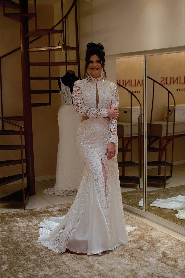 Vestido de Noiva Semi-Sereia com Decote e Fenda - BIANCA