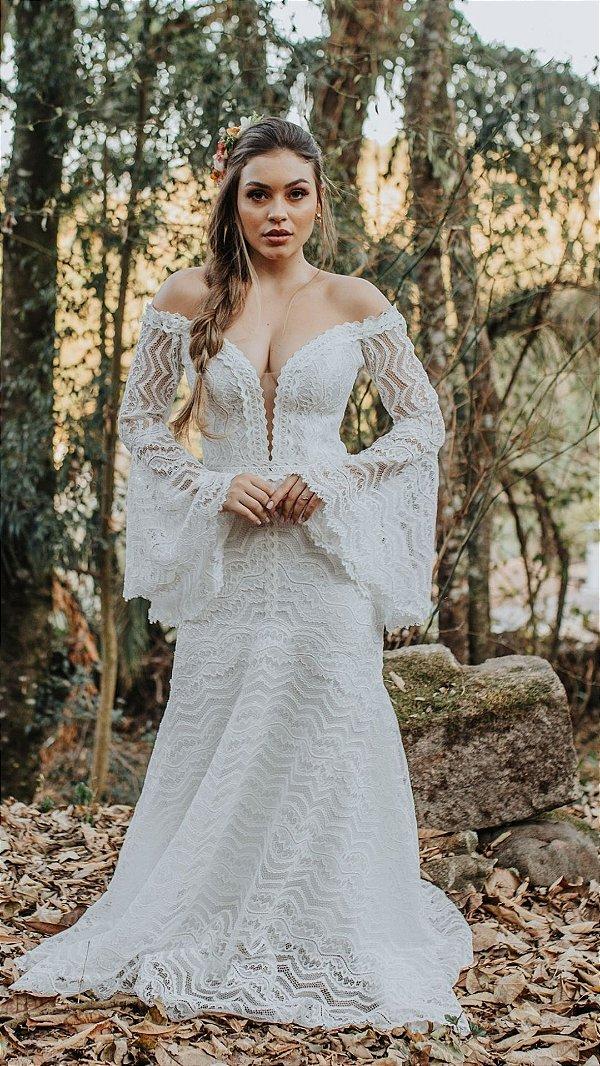Vestido de Noiva Semi-Sereia Boho com Decote - LÍDIA