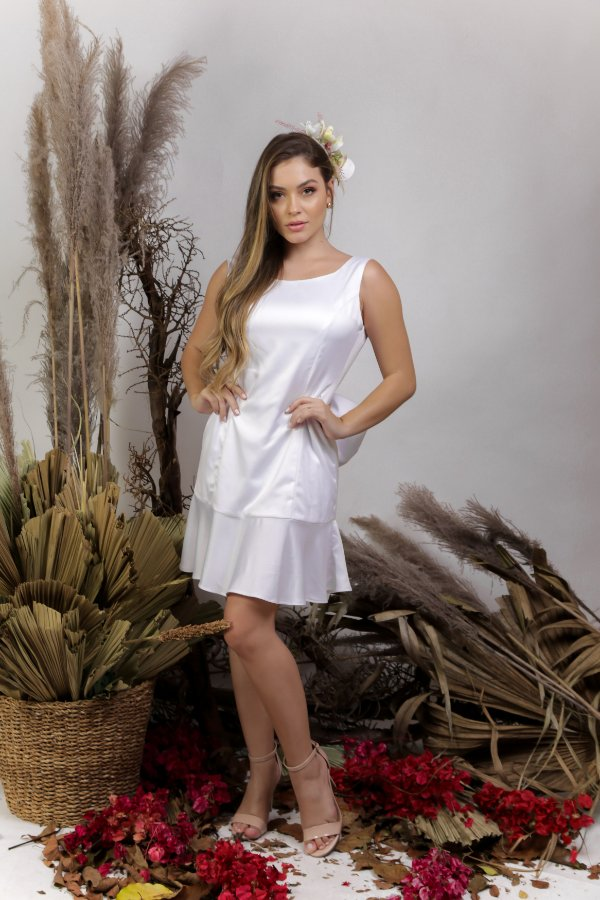 Vestido Civil com Decote nas Costas e Laço Branco - SWEET LOVE