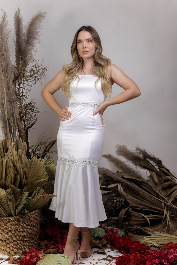 Vestido Civil Midi Branco - MY SUNSHINE