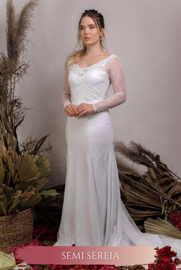 Vestido de Noiva Semi Sereia com corpete e decote coração - BELLA