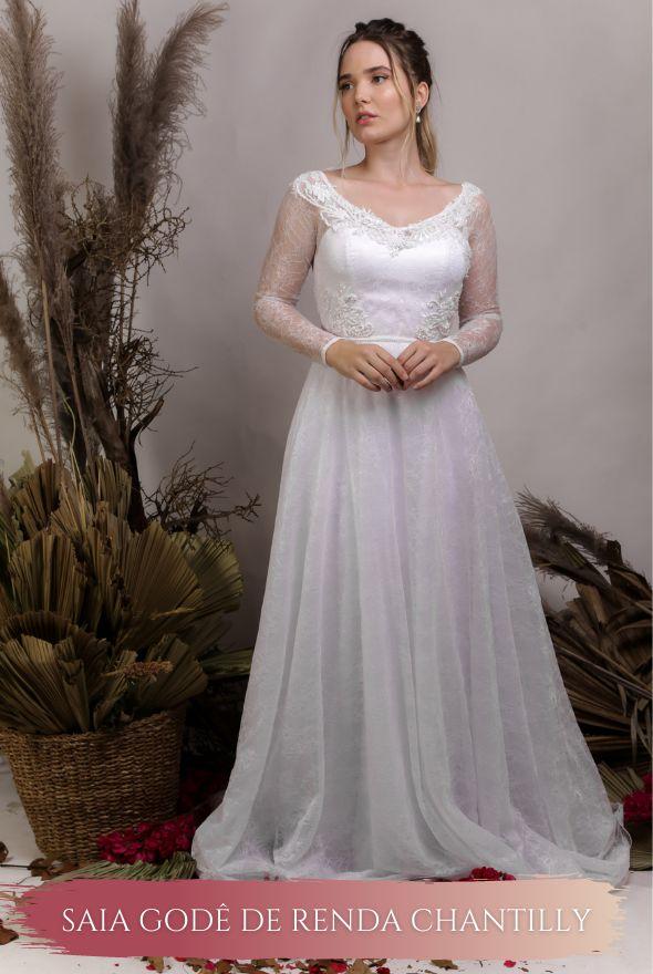 Vestido de Noiva Fluido com corpete e decote coração - BELLA