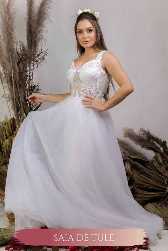Vestido de Noiva Fluido com decote nas costas - RAQUEL