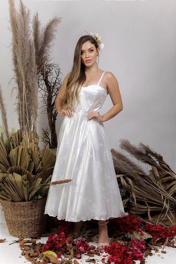 Vestido Civil Midi Branco - Clara