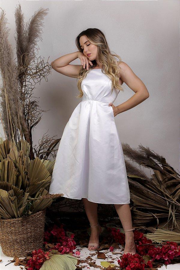 Vestido Civil Midi Branco com bolso - Bia