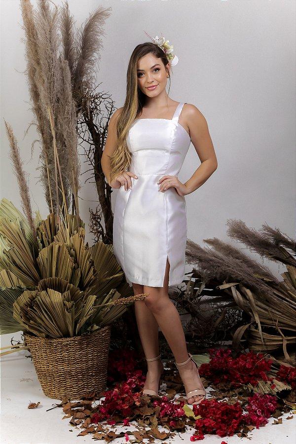 Vestido Civil Curto zibeline com fenda - Carol