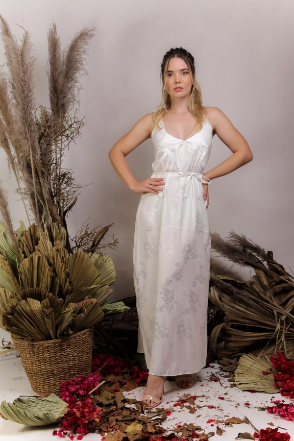 Camisola Longa cetim adamascado off-white - ROSE