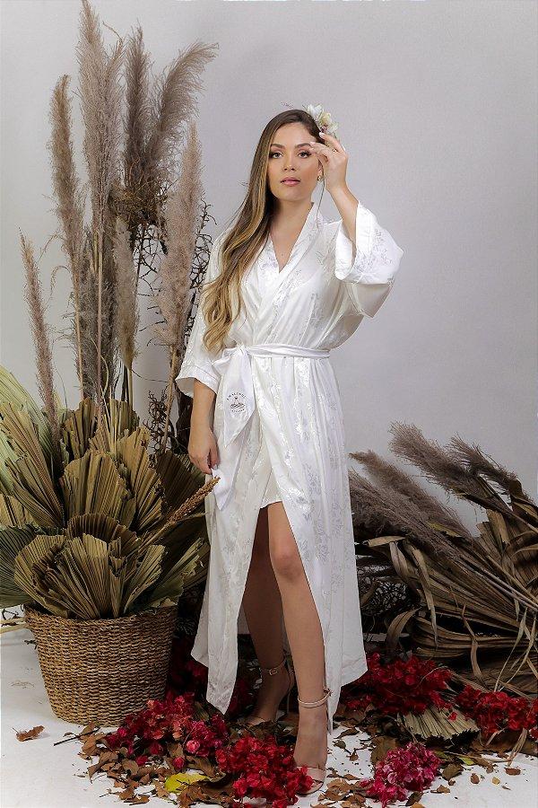 Robe cetim adamascado off-white - ROSE longo