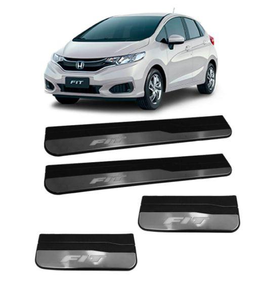 Soleira Led Honda Fit 2014 Em Diante 4 Portas Em Plastico E Aço Escovado 4 Pecas Mk2