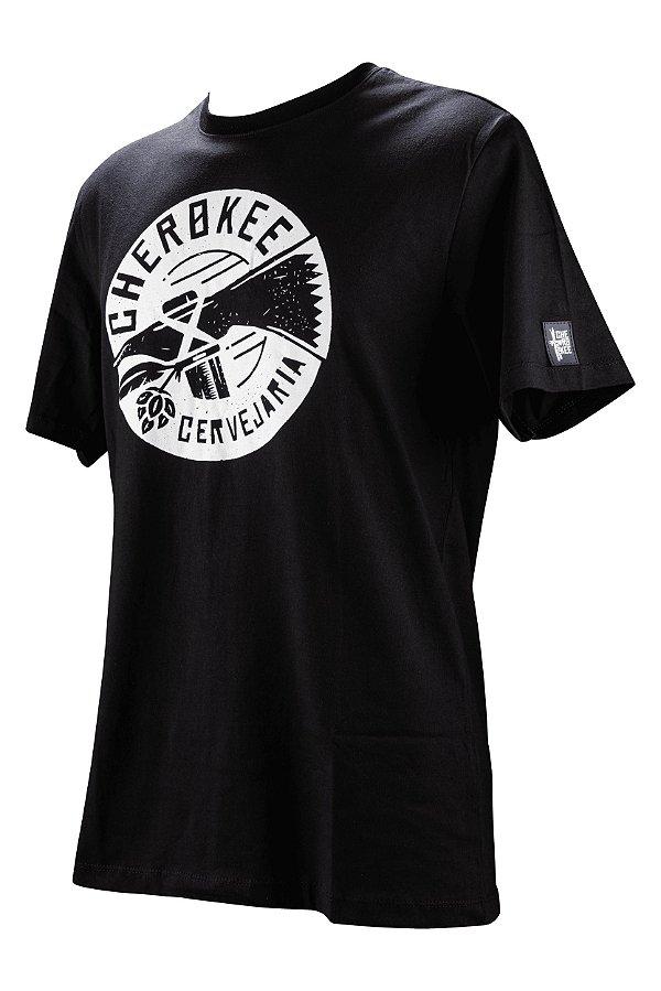 Camiseta Cherokee preta com estampa branca