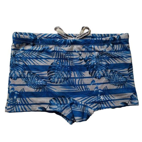 Sunga Boxer Cinza Listra Folhagem Azul 3007