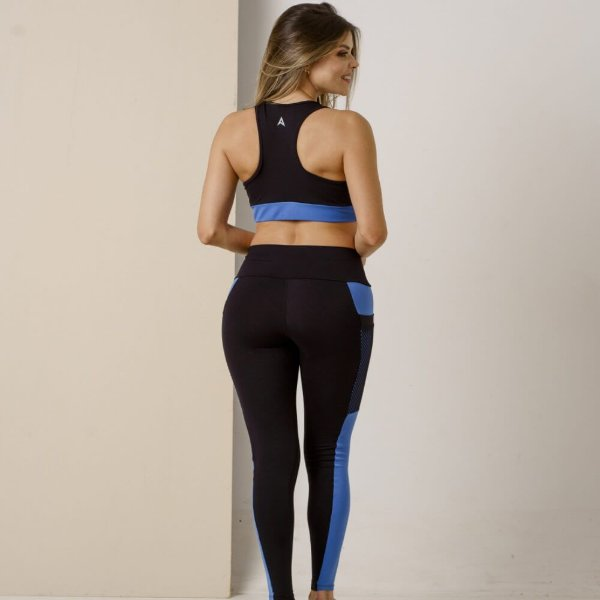 Top Fitness Preto com Azul Royal 11022