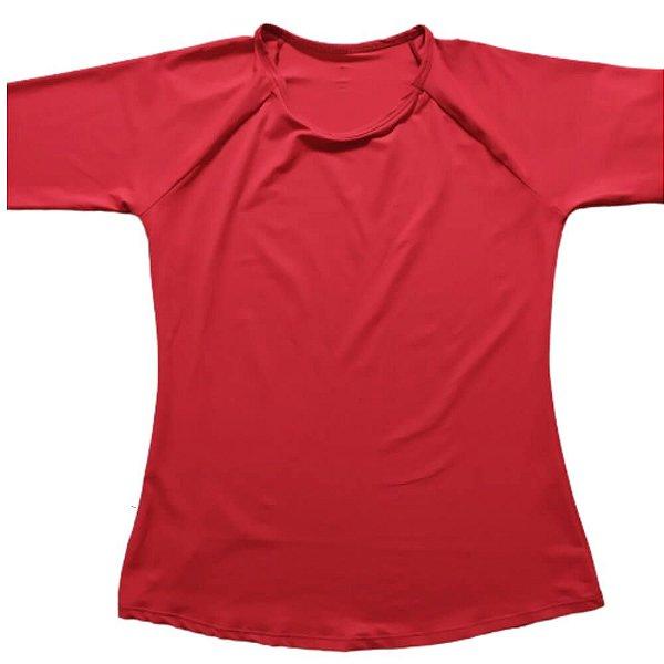 Camisa Com Proteção Solar Adulto Feminino Vermelho 6007