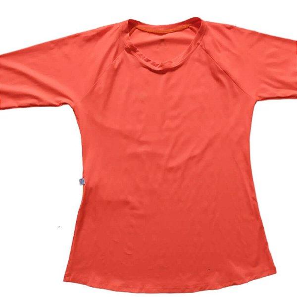 Camisa Com Proteção Solar Adulto Feminino Laranja Fluor 6007