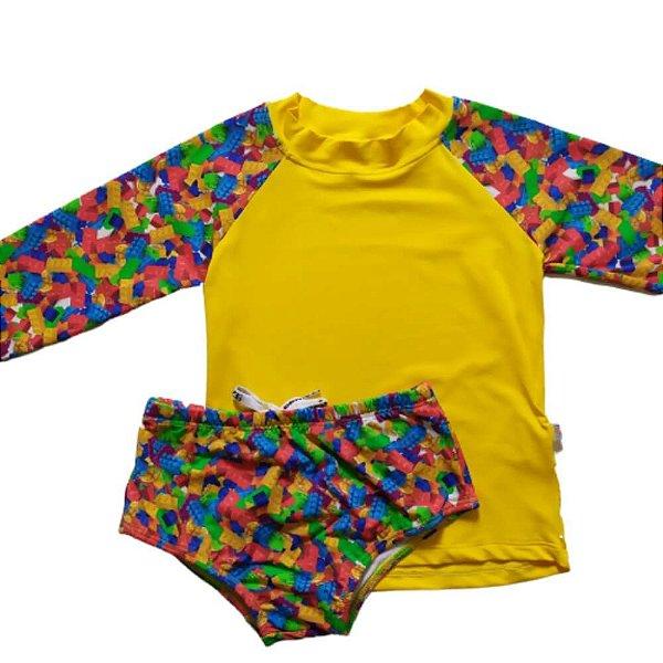 Kit Blusa Com Proteção Solar + Sunga Infantil Amarelo