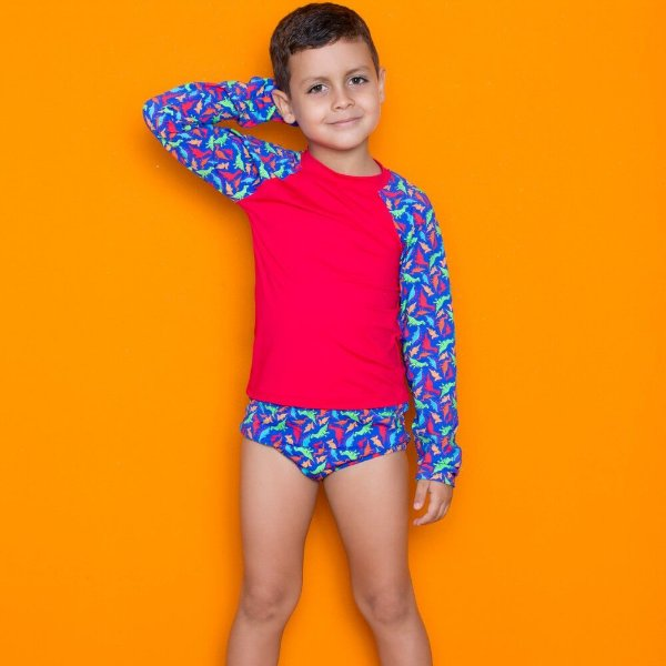 Kit Blusa Com Proteção Solar + Sunga Infantil Vermelho