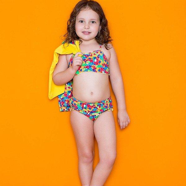 Kit Blusa Com Proteção Solar + Biquini Infantil Amarelo