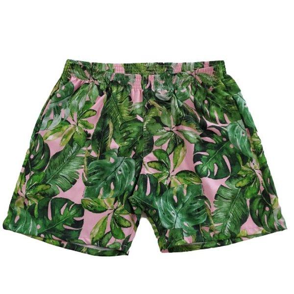 Short Masculino Tactel Rosê Folhas Verdes 3013