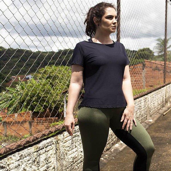 Camiseta Fitness Abertura Costas Preto 14054