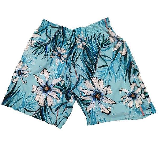 Short Masculino Tactel Azul Flor Branca 3013