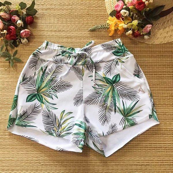 Short Suplex Cordão Ajustável Branco Folhas 5060