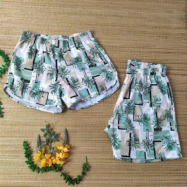Kit short casal tactel folhagem verde mint