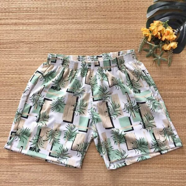 Short Masculino Tactel Folhagem Verde Mint 3013