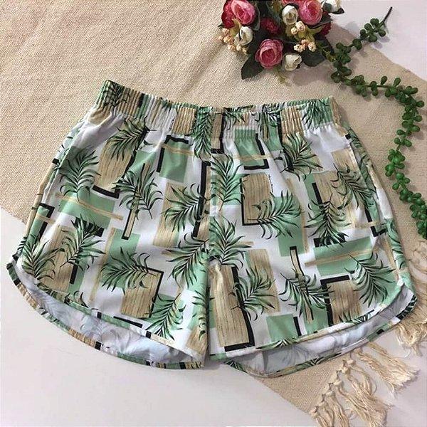 Short Feminino Tactel Folhagem Verde Mint 5071