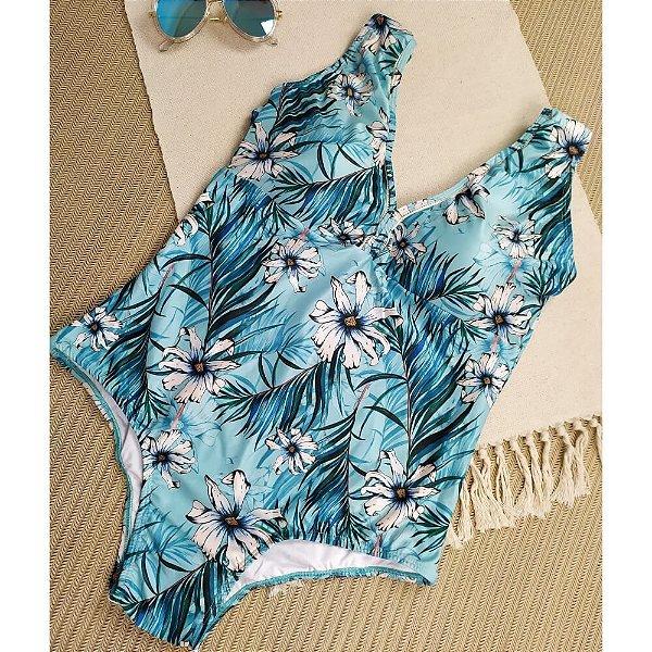 Maiô Plus Decote Tela Azul Flor Branca 4062