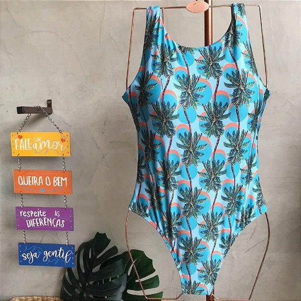 Maiô Body Regata Azul Coqueirinhos 4031
