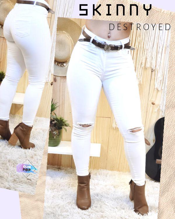 Calça Skinny Branca - opção com ou sem rasgo