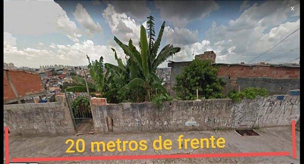 Terreno Taboão da Serra Parque Pinheiros 20 metros de frente aprova planta p/ 3 sobrados com suíte e 2 vagas ou prédio de apartamentos com 1.092 m²