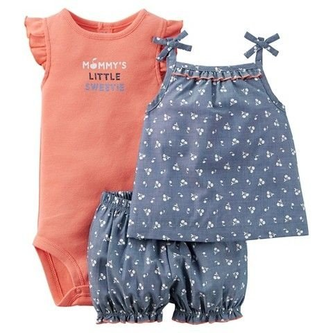 Conjunto 3 peças chambray com laranja Just one You made by CARTERS
