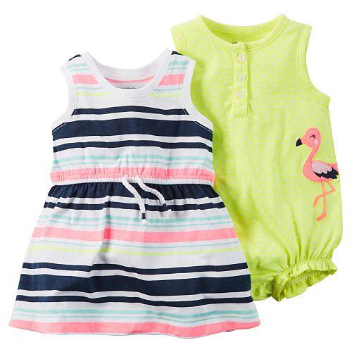 Conjunto 2 peças romper Flamingo com vestido listras coloridas - CARTERS