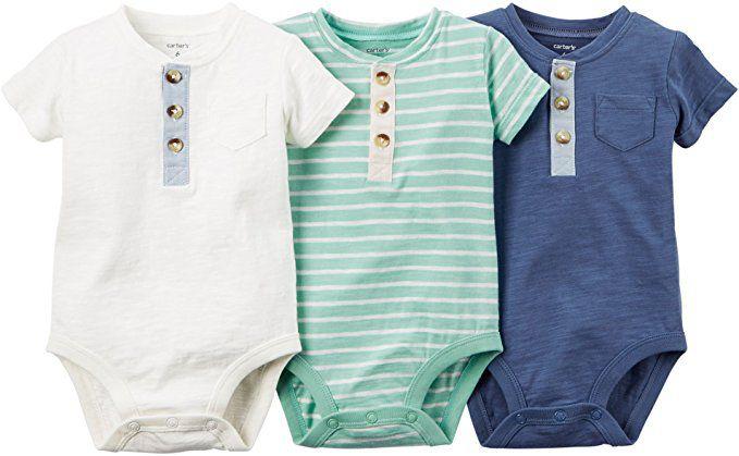 Kit body 3 peças com botões branco, verde listrado e azul - CARTERS