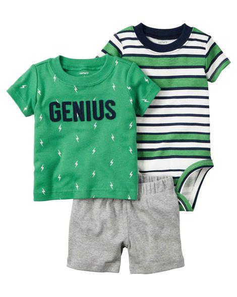 Conjunto 3 peças verde e cinza Genius - CARTERS